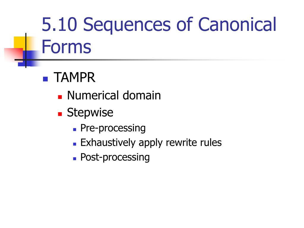 5.10 Sequences of Canonical Forms