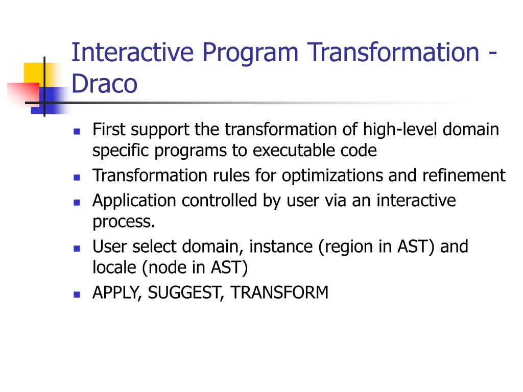 Interactive Program Transformation - Draco