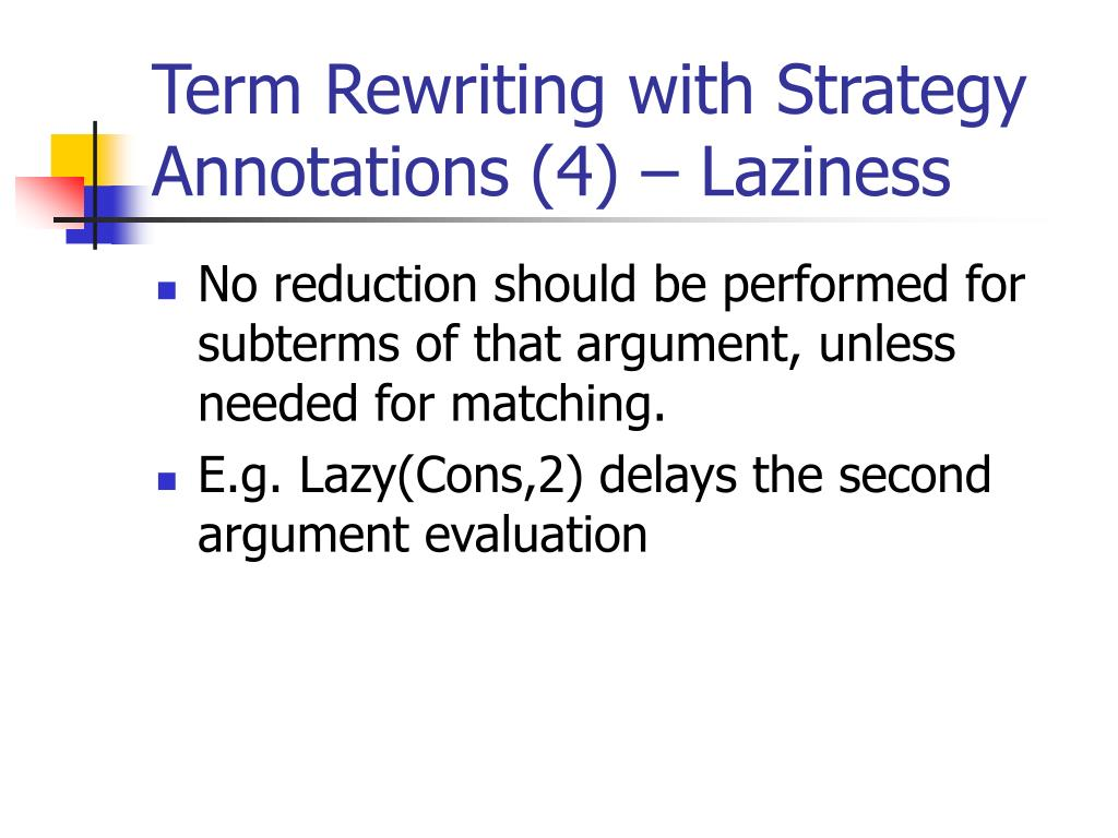Term Rewriting with Strategy Annotations (4) – Laziness