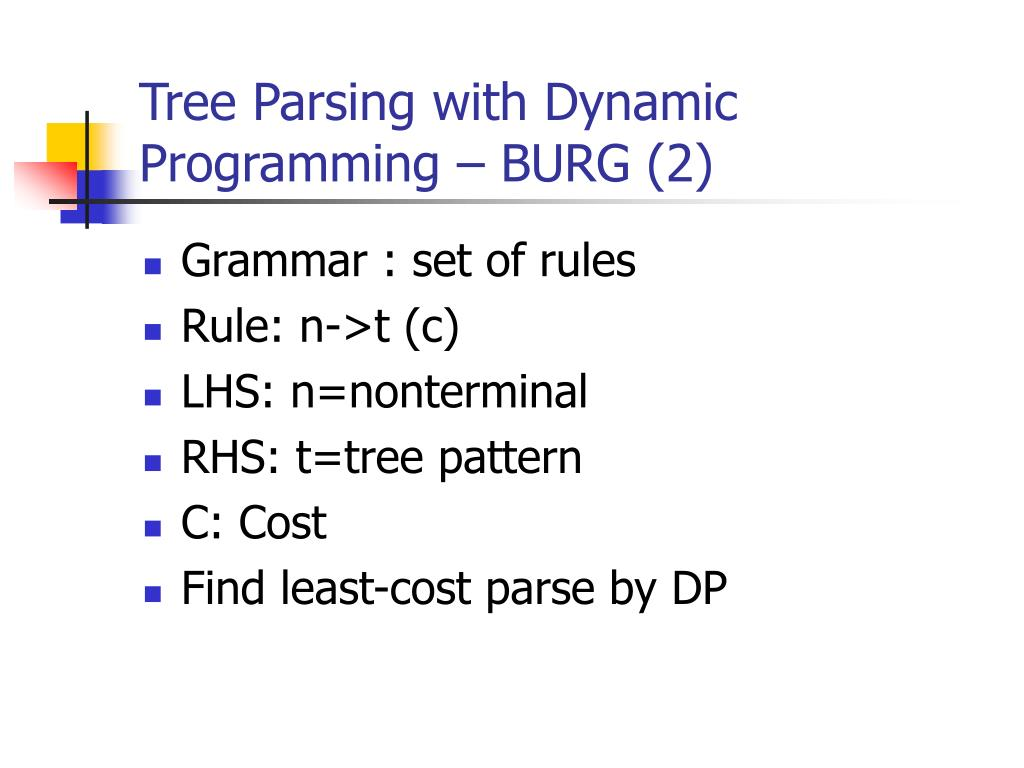 Tree Parsing with Dynamic Programming – BURG (2)