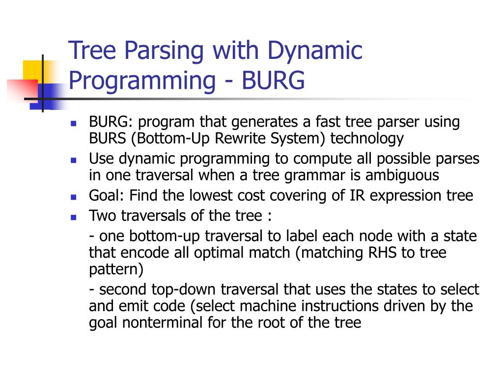 Tree Parsing with Dynamic Programming - BURG