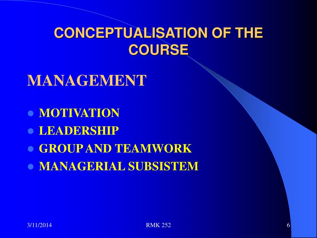 CONCEPTUALISATION OF THE COURSE