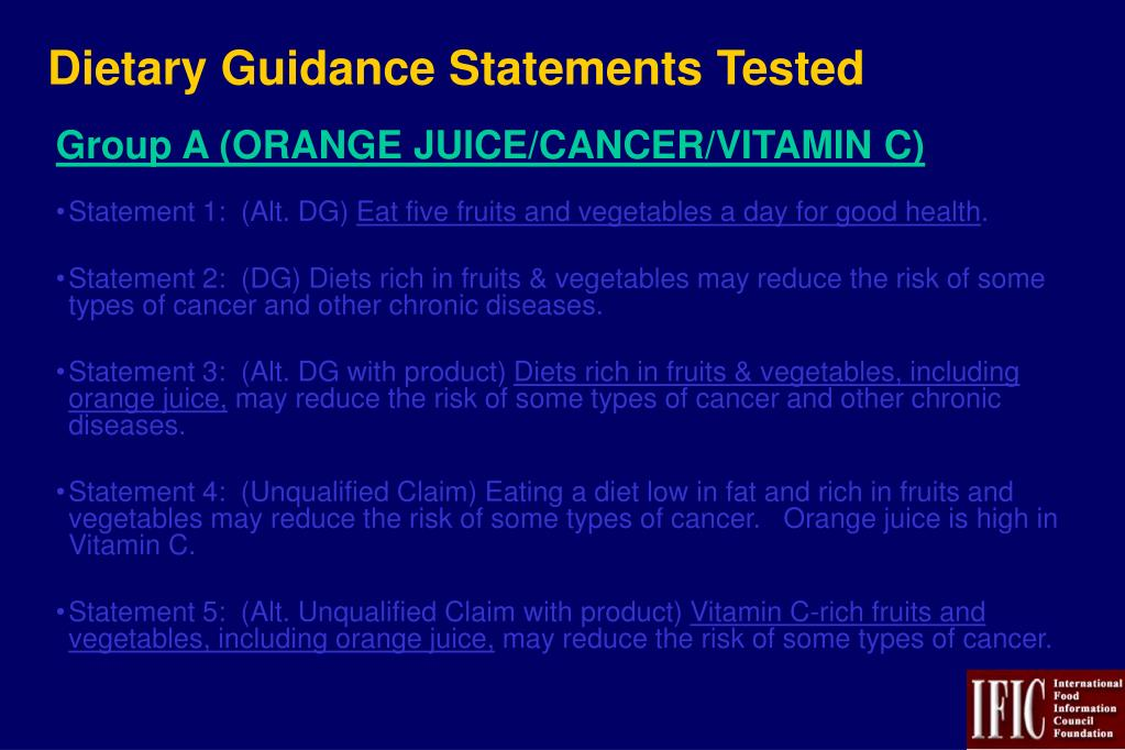 Dietary Guidance Statements Tested