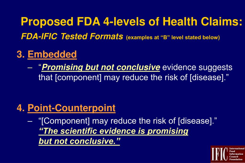 Proposed FDA 4-levels of Health Claims: