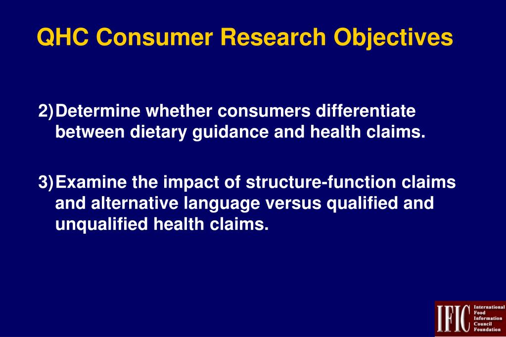 QHC Consumer Research Objectives