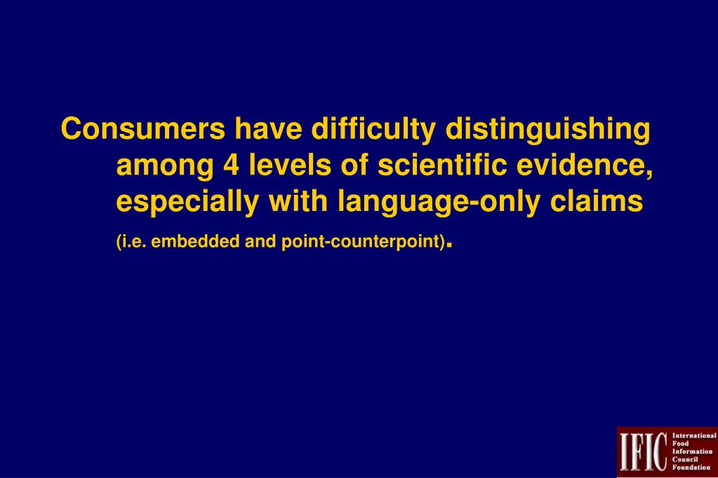Consumers have difficulty distinguishing among 4 levels of scientific evidence, especially with language-only claims