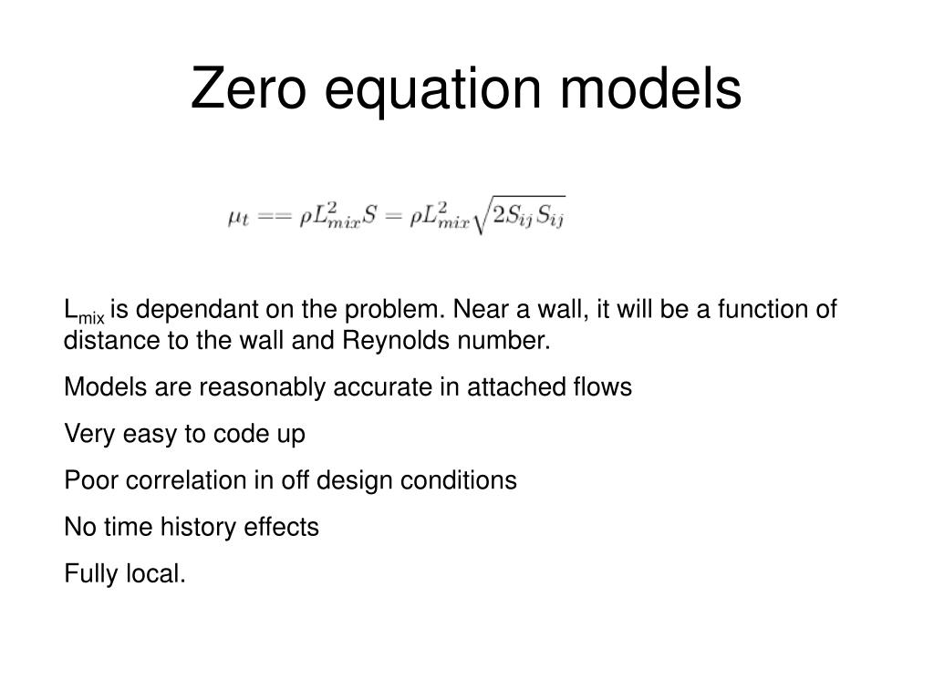 Zero equation models