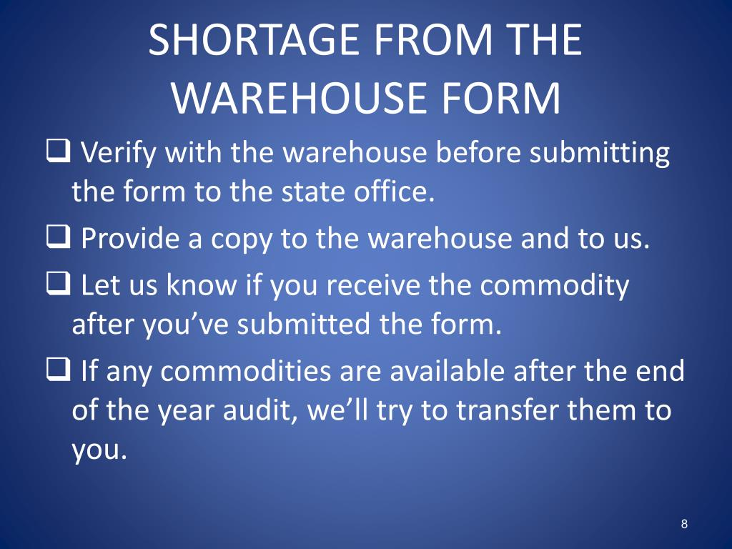 SHORTAGE FROM THE WAREHOUSE FORM
