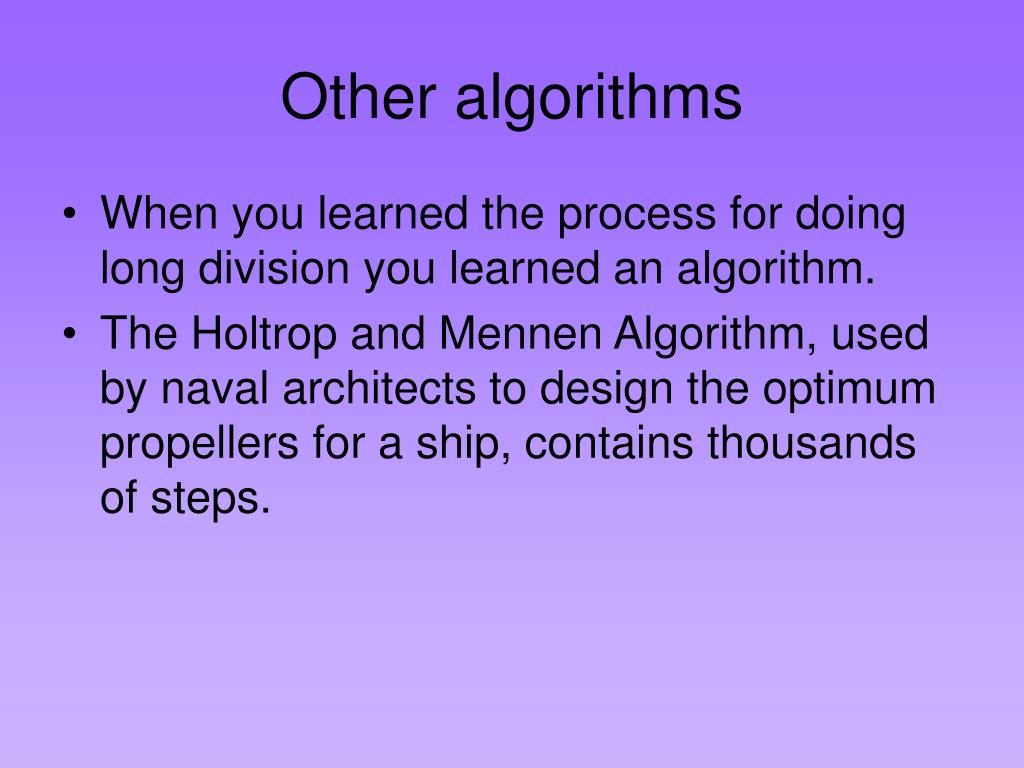 Other algorithms