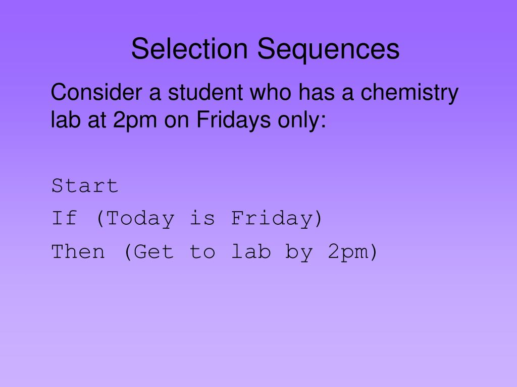 Selection Sequences