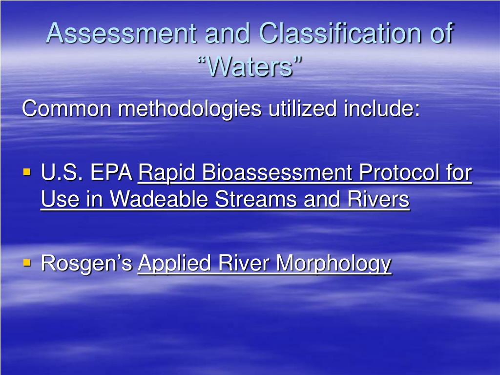 "Assessment and Classification of ""Waters"""