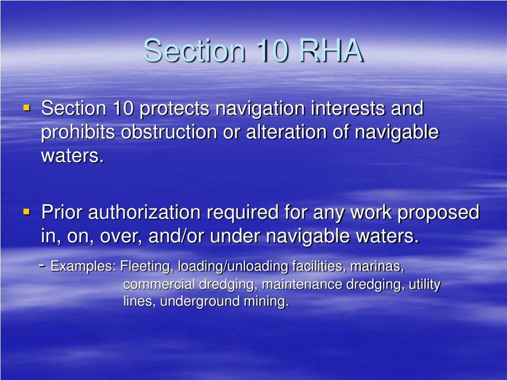 Section 10 RHA