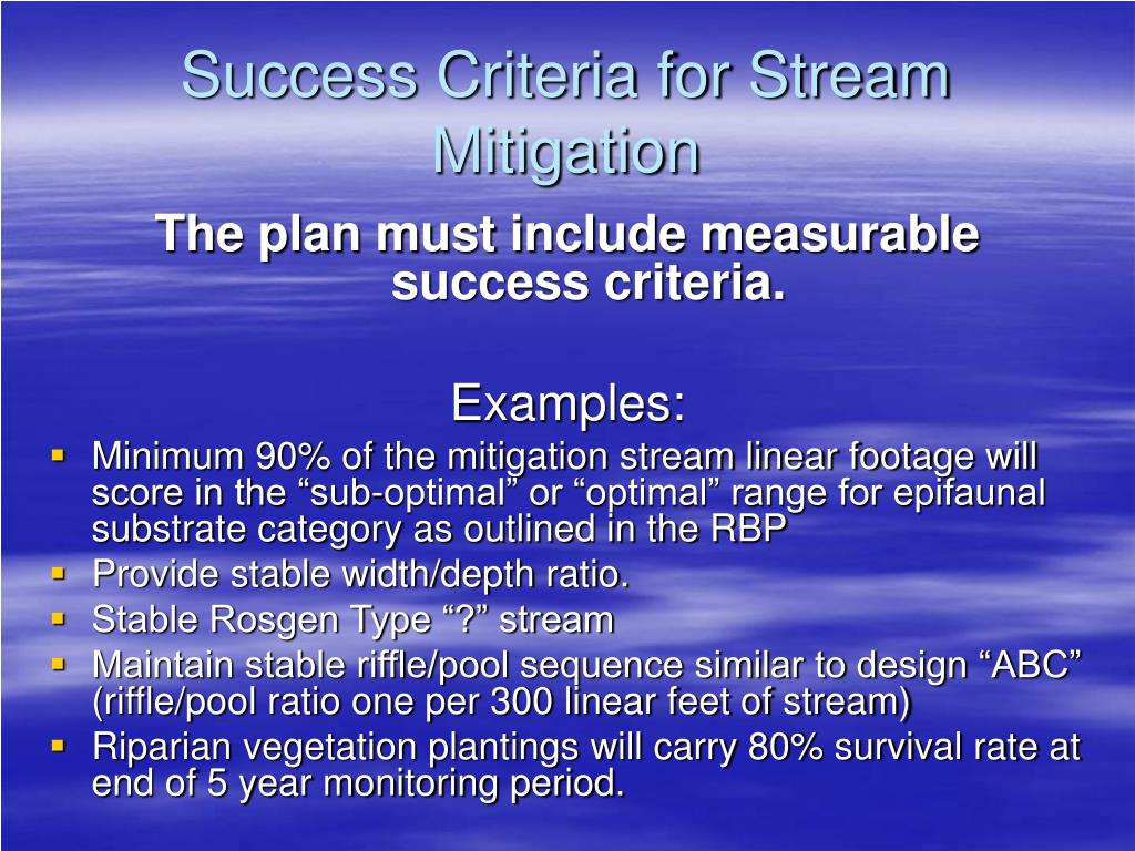 Success Criteria for Stream Mitigation