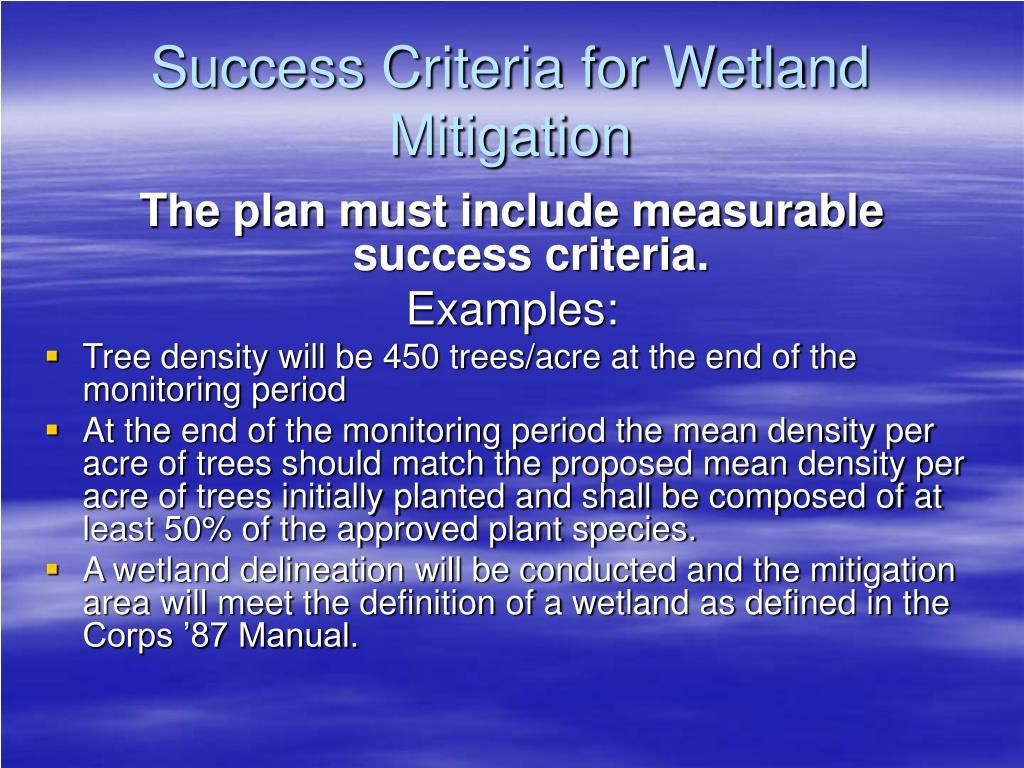 Success Criteria for Wetland Mitigation