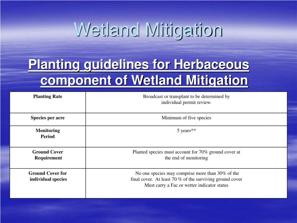 Planting guidelines for Herbaceous component of Wetland Mitigation