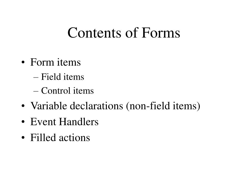 Contents of Forms