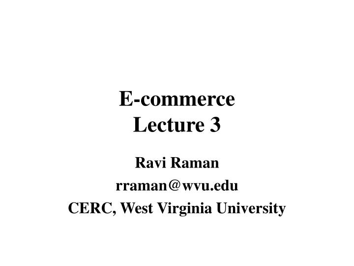 E commerce lecture 3