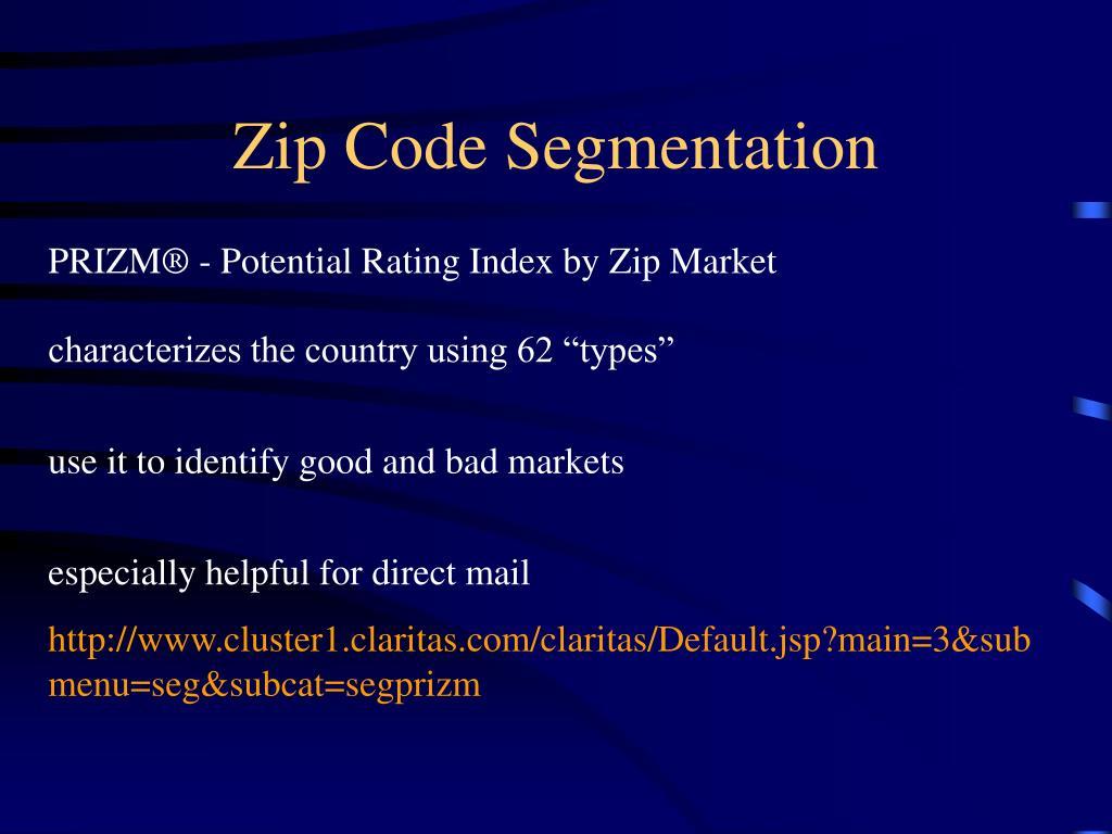 Zip Code Segmentation