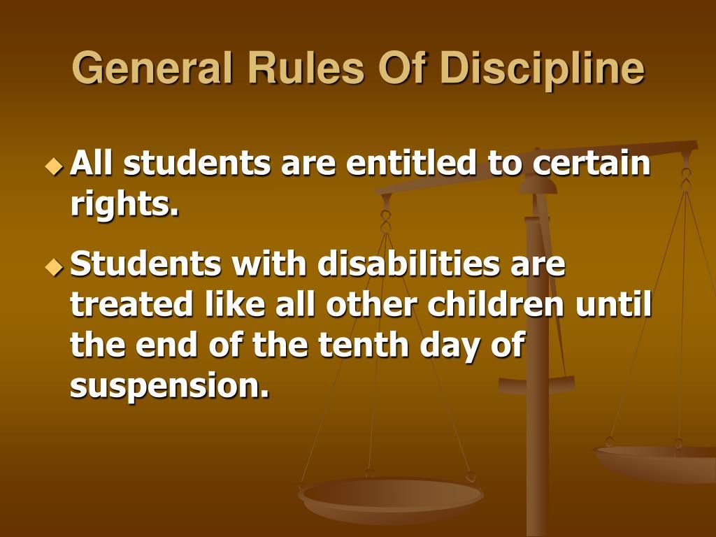 General Rules Of Discipline