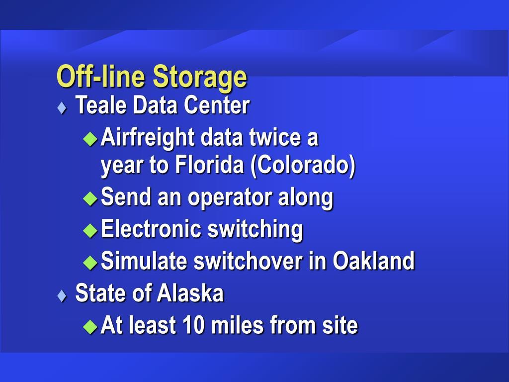 Off-line Storage