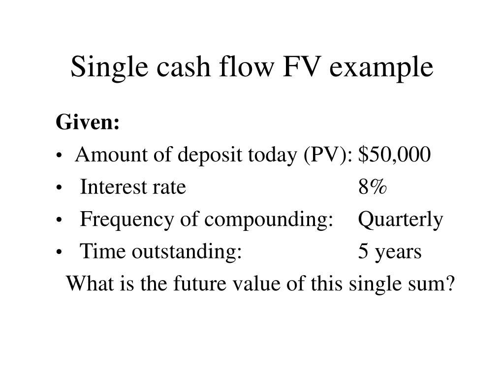 Single cash flow FV example