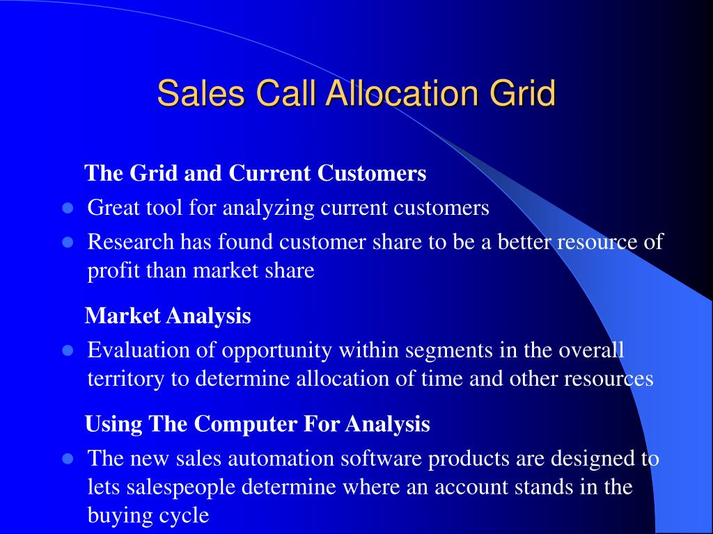 Sales Call Allocation Grid