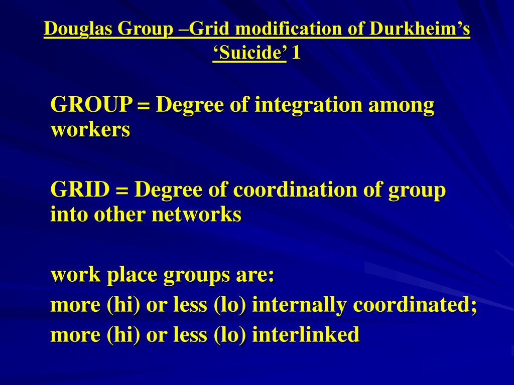 Douglas Group –Grid modification of Durkheim's 'Suicide'