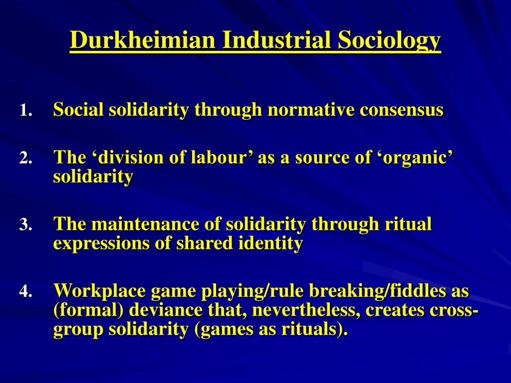 durkheimian industrial sociology