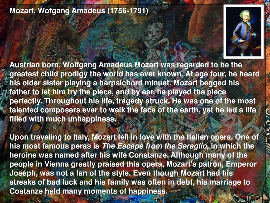 Mozart, Wofgang Amadeus (1756-1791)