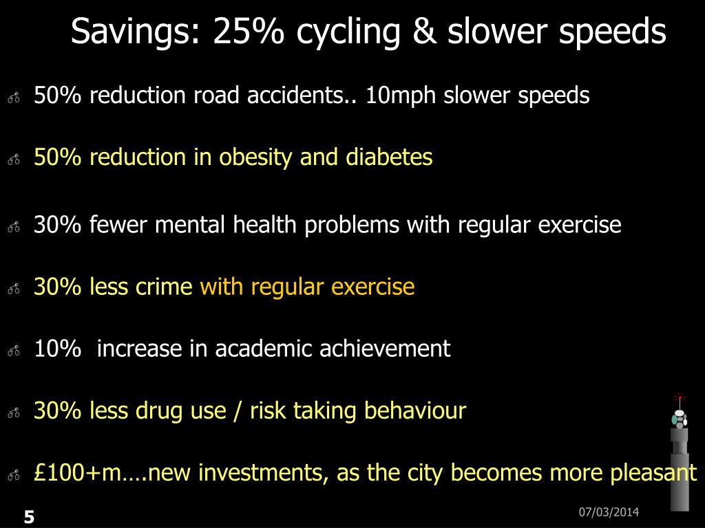 Savings: 25% cycling & slower speeds