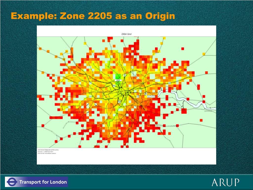 Example: Zone 2205 as an Origin