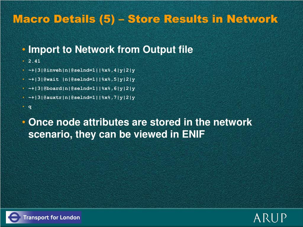 Macro Details (5) – Store Results in Network