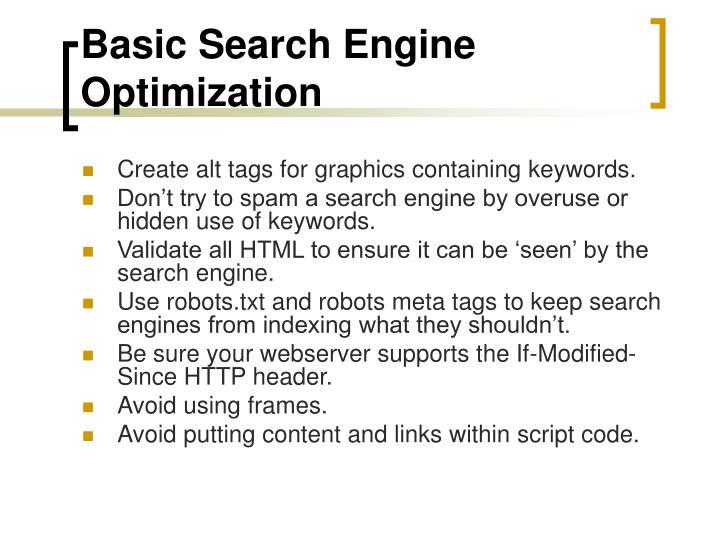 Basic Search Engine Optimization