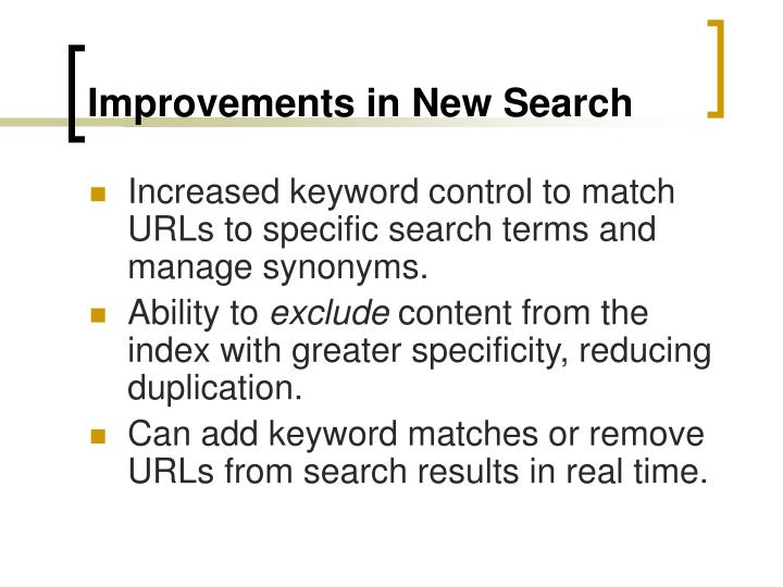 Improvements in New Search