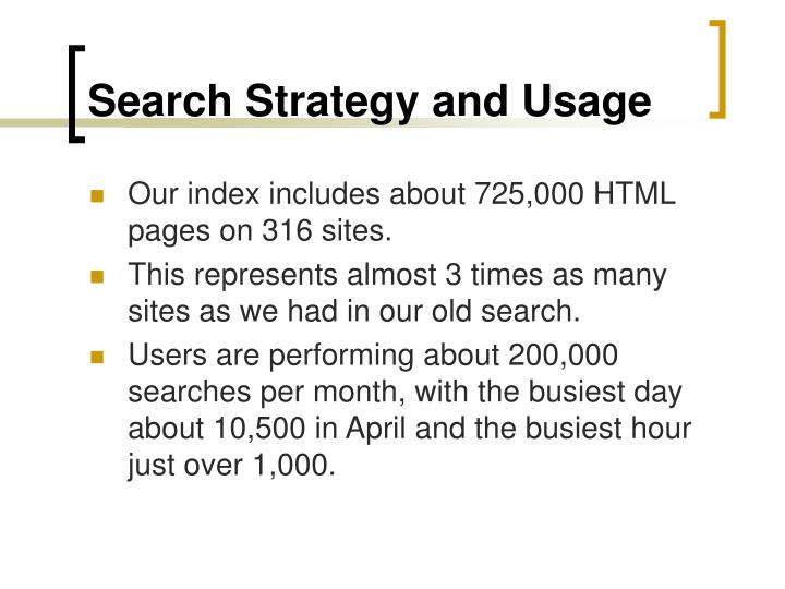 Search Strategy and Usage