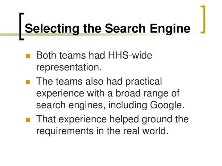 Selecting the Search Engine