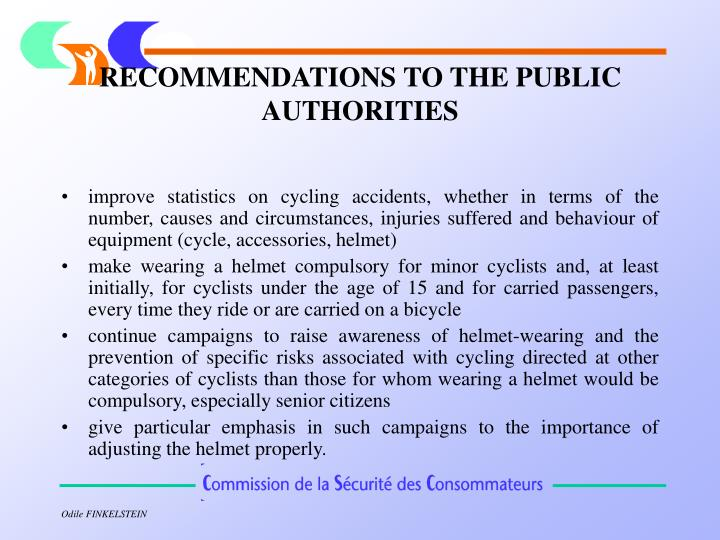 RECOMMENDATIONS TO THE PUBLIC AUTHORITIES