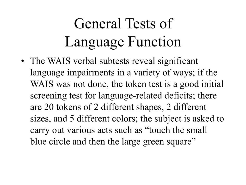 General Tests of