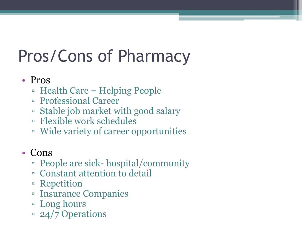 Pros/Cons of Pharmacy