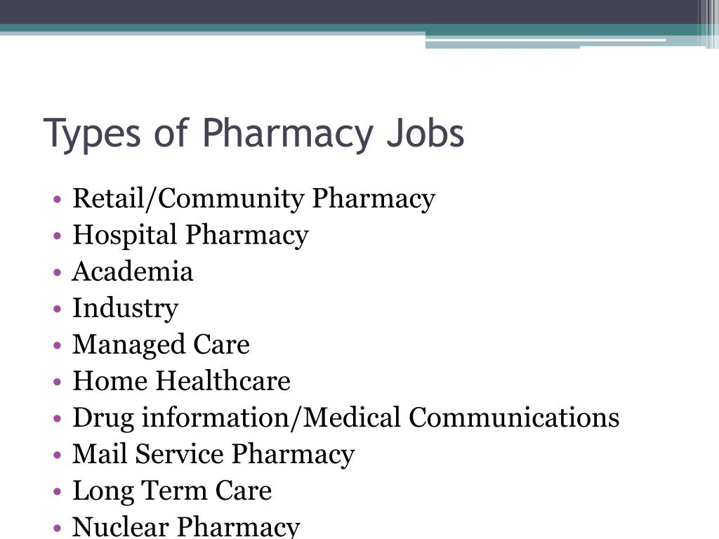 Types of Pharmacy Jobs