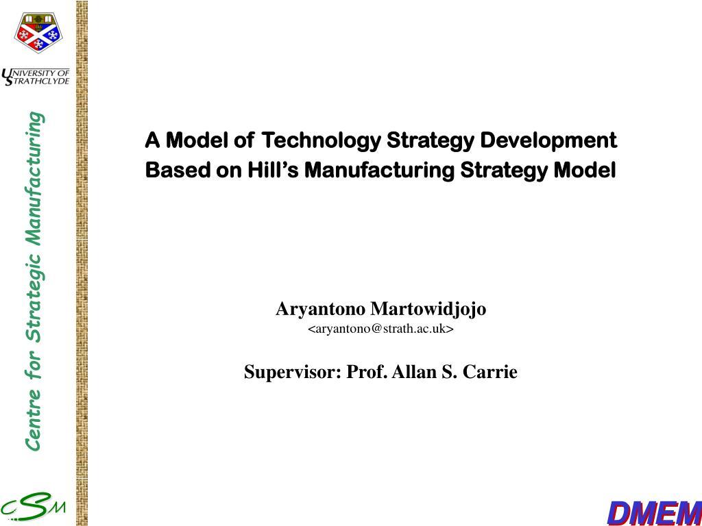 A Model of Technology Strategy Development