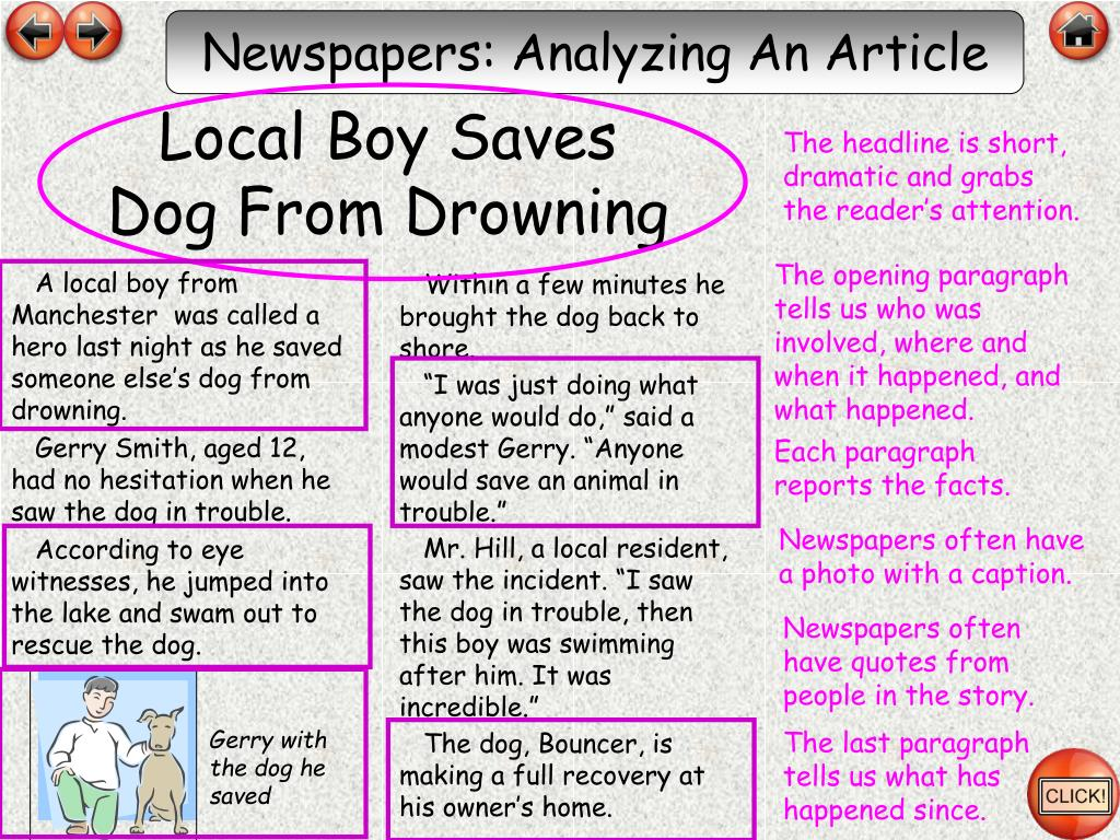 Newspapers: Analyzing An Article