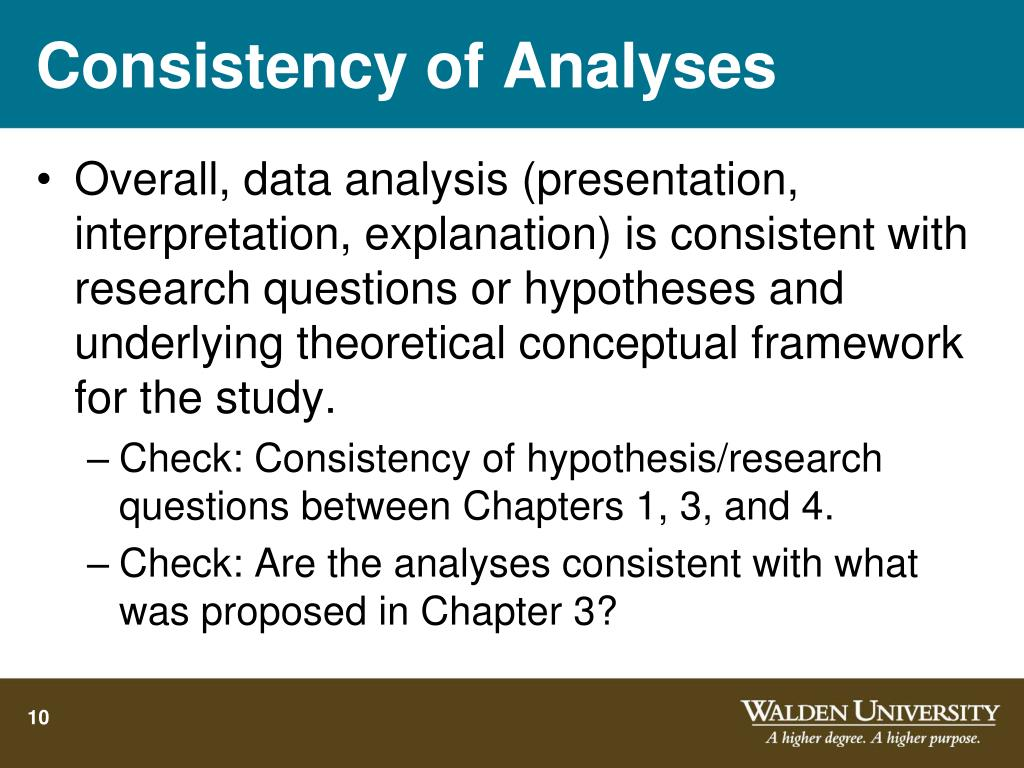 Consistency of Analyses
