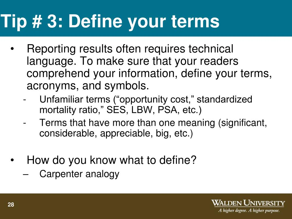 Tip # 3: Define your terms