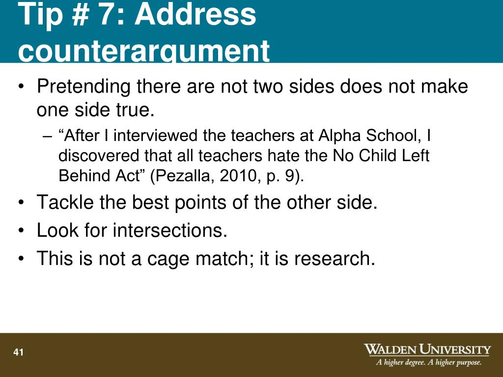 Tip # 7: Address counterargument