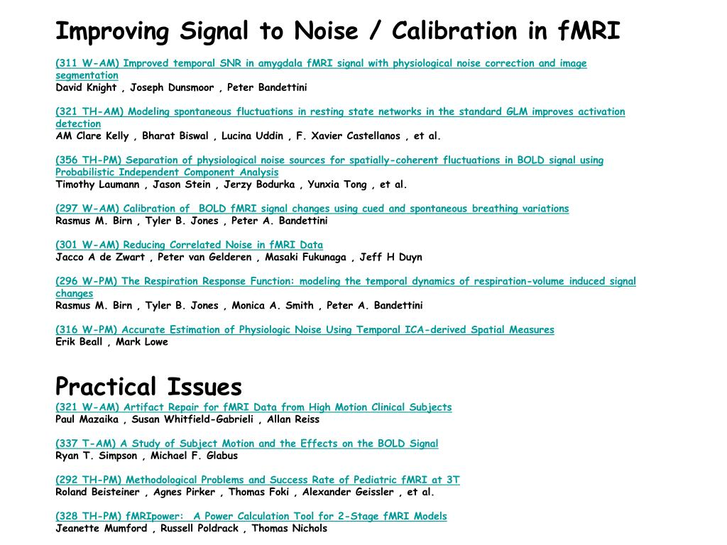 Improving Signal to Noise / Calibration in fMRI