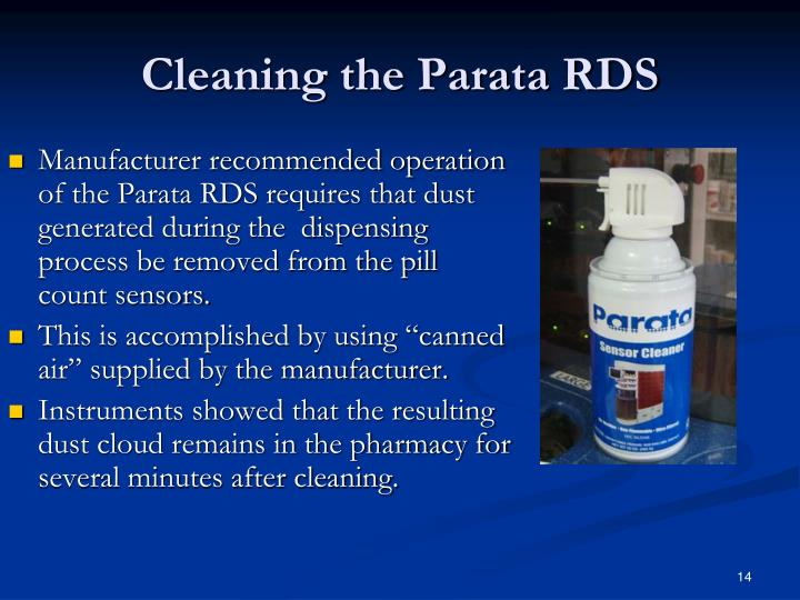 Cleaning the Parata RDS
