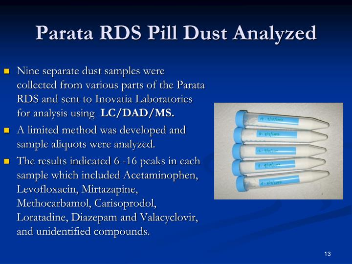 Parata RDS Pill Dust Analyzed