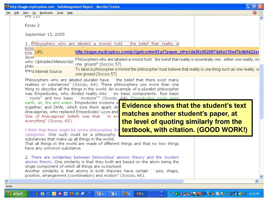 Evidence shows that the student's text