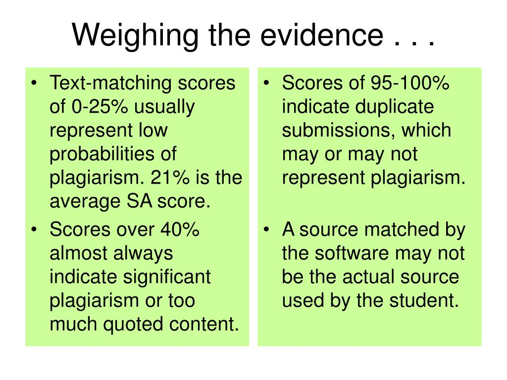 Text-matching scores of 0-25% usually represent low probabilities of plagiarism. 21% is the average SA score.